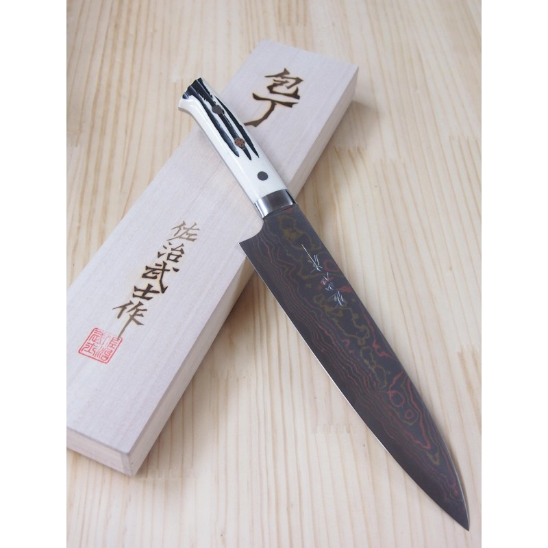 Faca do chef gyuto TAKESHI SAJI ECHIZEN - Aço damascus blue steel 2 colorido - Tam: 21cm