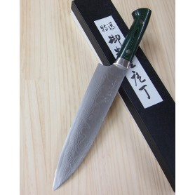 Faca do chef gyuto TAKESHI SAJI - Aço VG10 damascus -green micarta Tam:18/21cm
