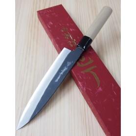 Faca japonesa do chef gyuto YOSHIHIRO Kurouchi white steel tam:21/24cm