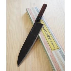 Faca japonesa sasa no ha - santoku artesanal TAKEDA HAMONO - Aço super blue steel - 24cm