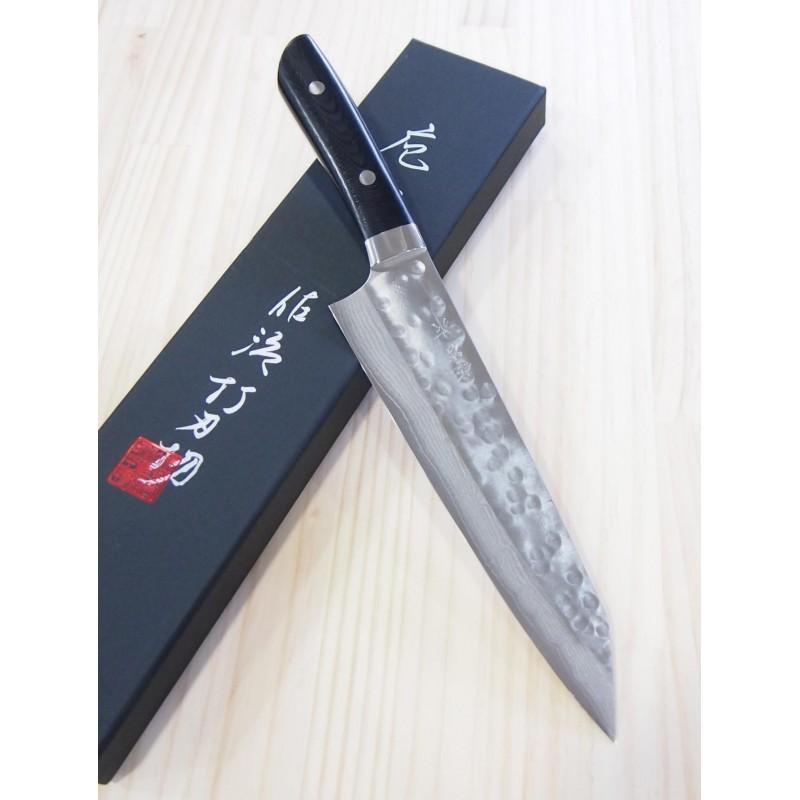 Faca japonesa kiritsuke TAKESHI SAJI -Aço SRS13 -black micarta handle- Tam:21cm