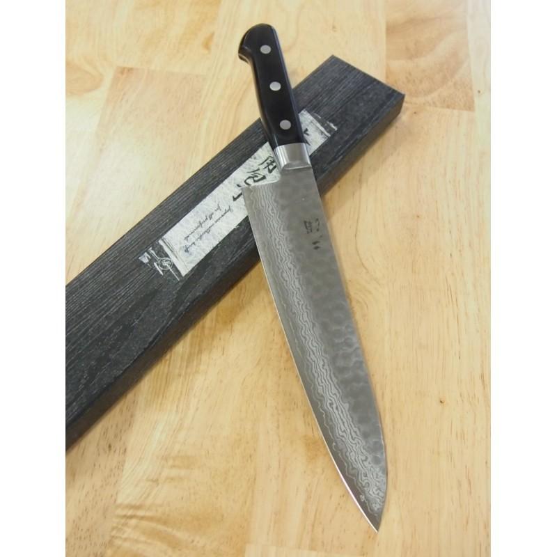 Faca japonesa do chef gyuto MIURA KNIVES - Série Damascus black handle - Tam:18/21/24cm