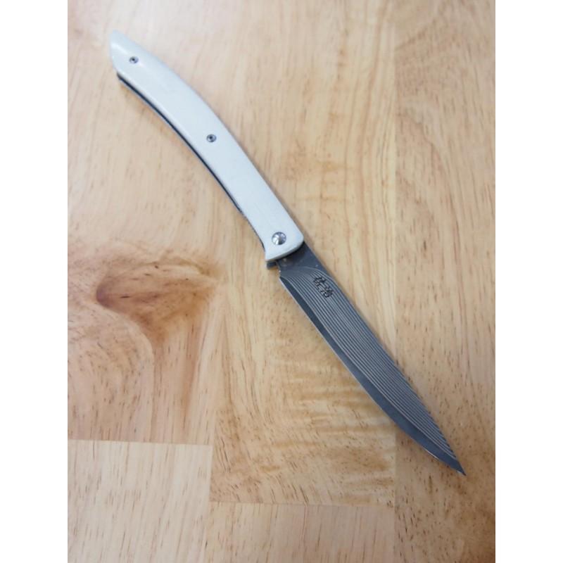 Faca steak knife TAKESHI SAJI Aço damascus inox R2 cabo branco 10cm