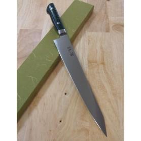 Faca japonesa sujihiki fatiadora SUISIN Sweden inox premium green micarta Tam:24/27cm