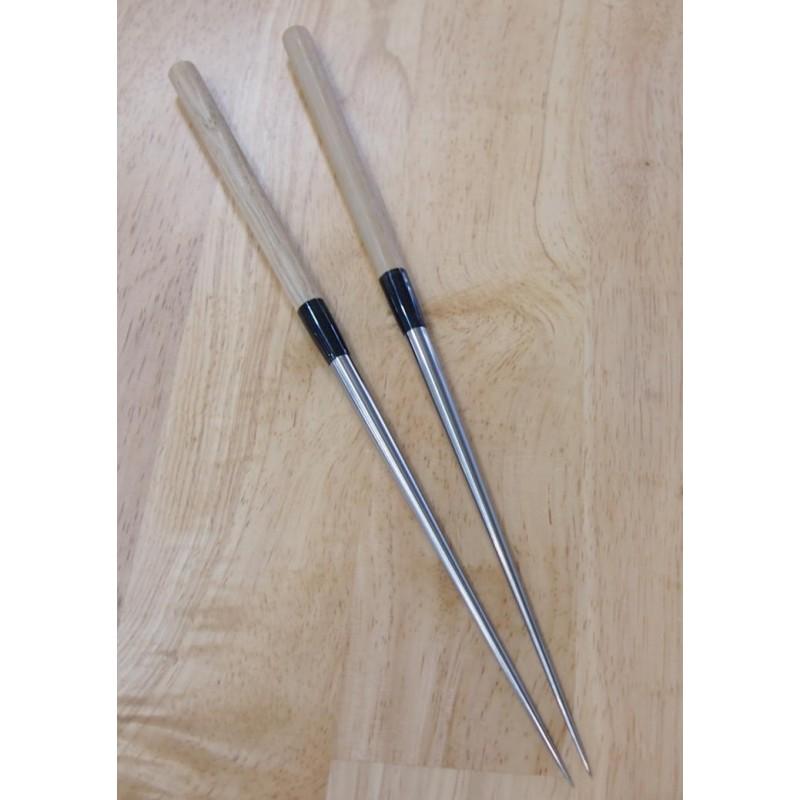 Moribashi de titânio - cabo de madeira e chifre de búfalo - Tam: 29/32cm