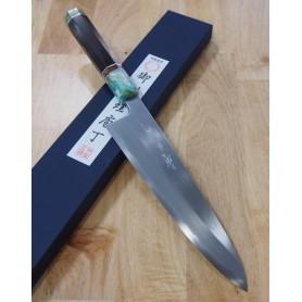Faca japonesa do chef gyuto para destro MIURA -Série Yoshikazu Tanaka white steel2 - cabo customizado- Tam:24cm