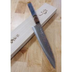 Faca japonesa do chef gyuto TAKESHI SAJI - Aço carbono damascus blue steel 2 colorido - custom handle - Tam: 24cm